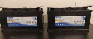 Två nya Exide Gel ES900 80Ah batterier